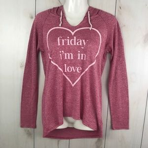 Friday I'm in Love Pink Knit Lightweight Hoodie